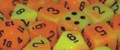 Chessex Dice - Gemini D6 Block -Orange-Yellow with Black numbers 12mm x36