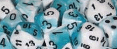 Chessex Dice - Gemini D6 Block -Teal-White with Black numbers 12mm x36