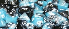 Chessex Dice - Gemini D6 Block -Black-Shell with White numbers 12mm x36