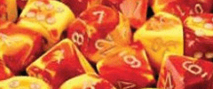 Chessex Dice - Gemini D6 Block -Red-Yellow with Silver numbers 12mm x36