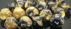 Chessex Dice - Gemini D6 Block -Black-Gold with Silver numbers 12mm x36