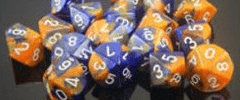 Chessex Dice - Gemini D6 Block -Blue-Orange with White numbers 12mm x36