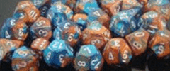 Chessex Dice - Gemini D6 Block -Copper-Teal with Silver numbers 12mm x36
