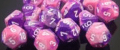 Chessex Dice - Gemini D6 Block -Pink-Purple with White numbers 12mm x36