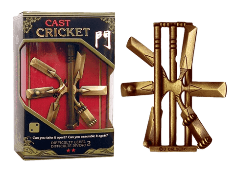 Hanayama Cast Metal Puzzle Level 2 Cricket Stumps & Bat