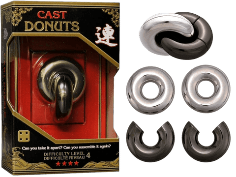 Hanayama Cast Metal Puzzle Level 4 Donuts