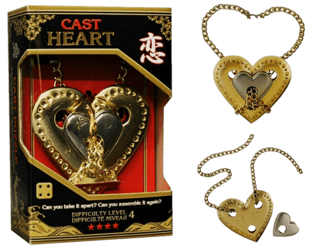 Hanayama Cast Metal Puzzle Level 4 Heart & Chain