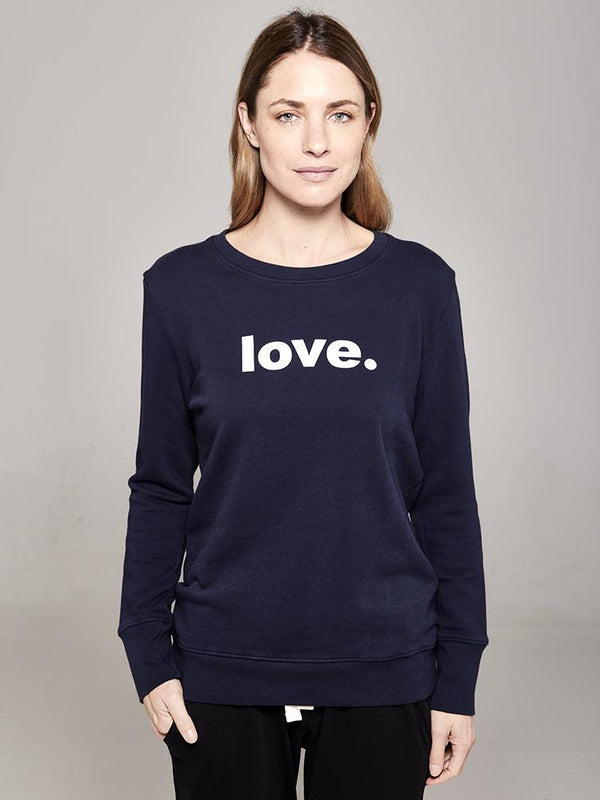 Organic Crew Boyfriend Sweater Navy Love