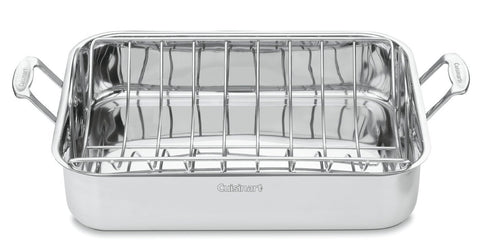 Classic Stainless 16-Inch Rectangular Turkey Roaster with Rack by Cuisinart Chef's - KitchenRave - 1