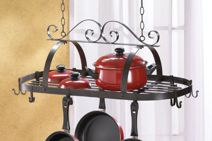 Rustic Wrought Iron Hanging Pot Holder for Kitchen - KitchenRave - 1
