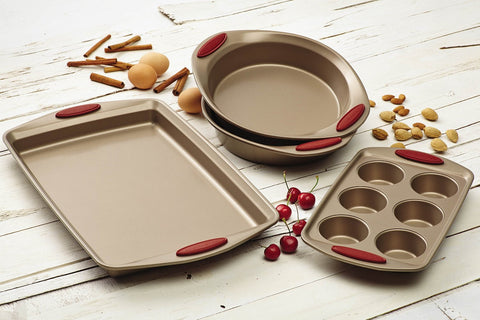 Rachael Ray Cucina 4-Piece Bakeware Set, Latte Brown with Cranberry Red Handle Grips - KitchenRave - 1