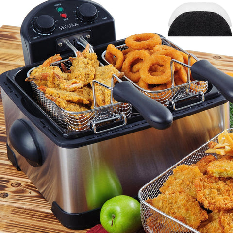 Stainless-Steel Triple-Basket Electric Deep Fryer by Secura - KitchenRave - 1