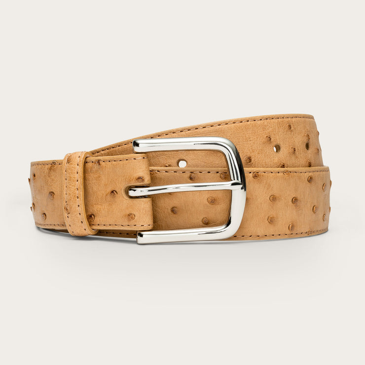 Nickel-Plated Brass Tan Ostrich