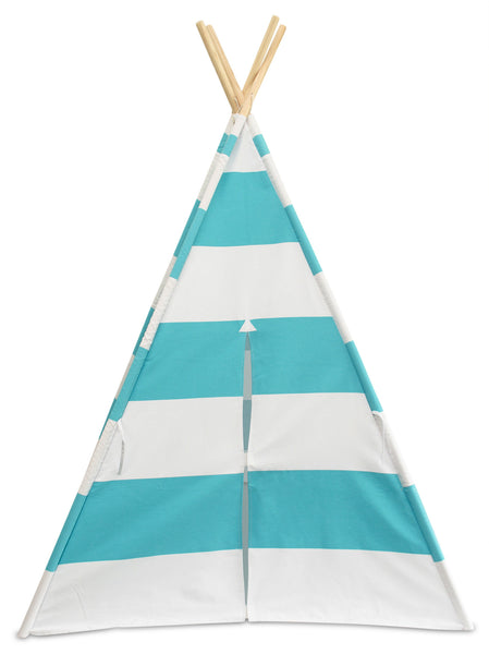 Deluxe Kids Teepee Tent - Turquoise Blue & White
