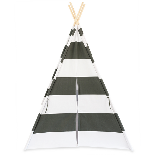 Deluxe Kids Teepee Tent - Gray & White