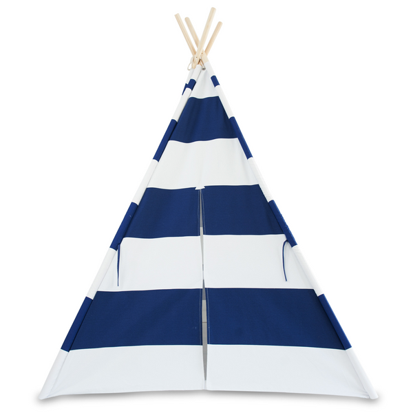 Deluxe Kids Teepee Tent - Nautical Blue & White