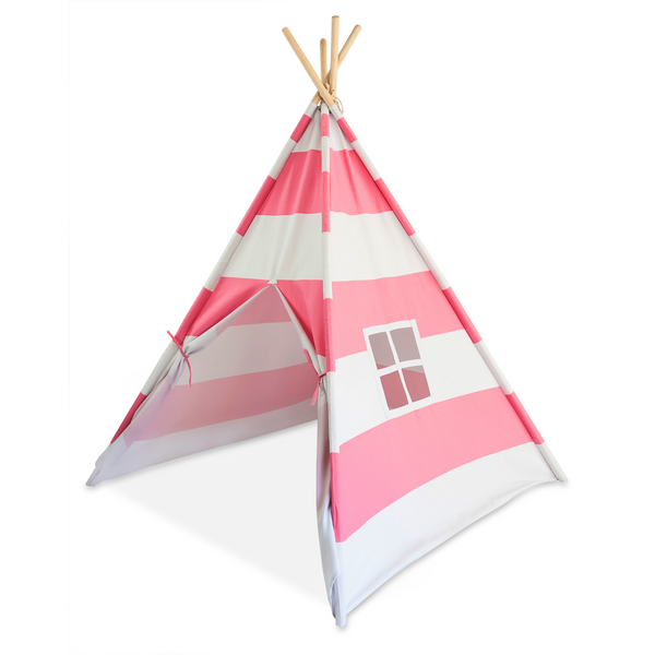 Deluxe Kid Teepee Tent - Bubble Gum Pink & White