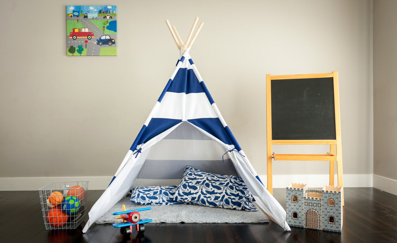 Tiny Hideaways Kids Teepee Tent - Nautical Blue & White