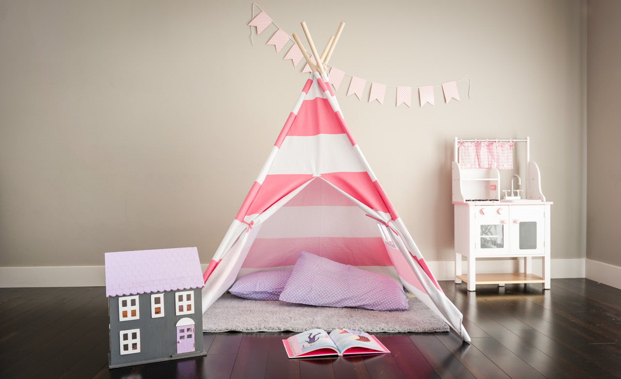 Tiny Hideaways Kids Teepee Tent - Bubble Gum Pink & White