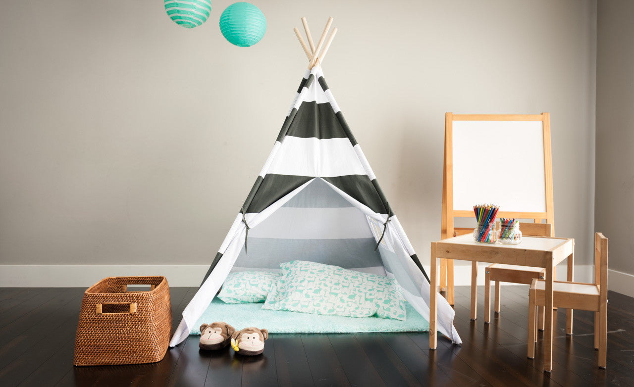Tiny Hideaways Kids Teepee Tent - Gray & White