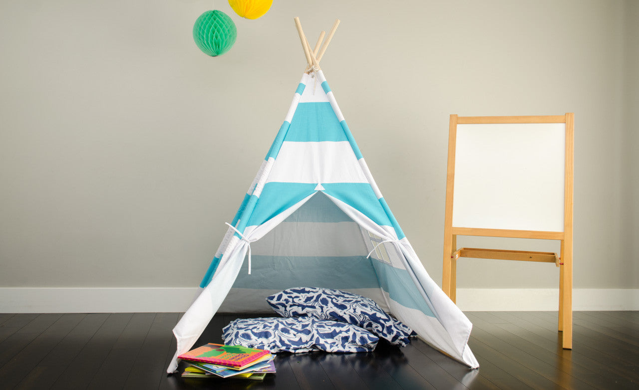 Tiny Hideaways Kids Teepee Tent - Turquoise Blue & White