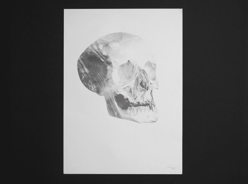 Skull 01 timed edition riso print from London artist Von. www.shopvon.com
