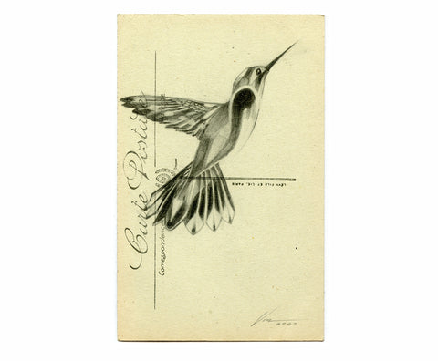 'Flight' original on Vintage Postcard 04 ( Original Art ) screen prints and original art by London artist Von — www.shopvon.com