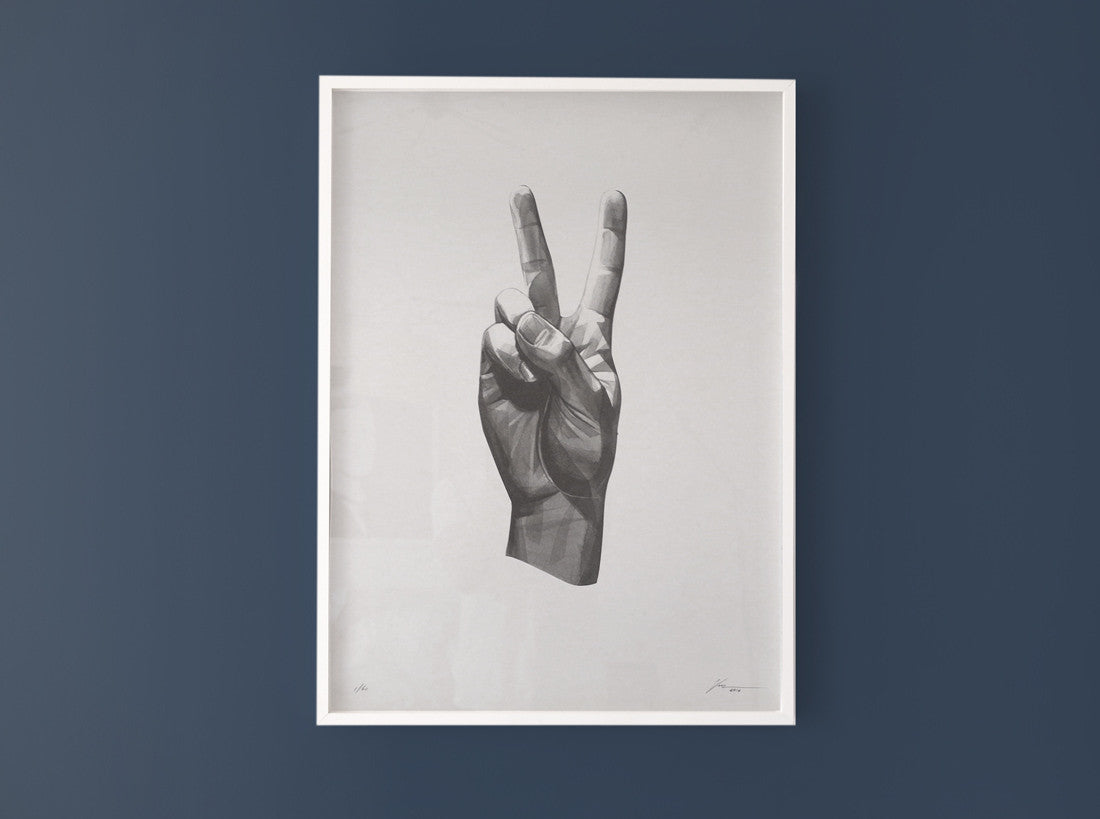 Gestures 06 | Peace  [2016] ( Riso Print ) screen prints and original art by London artist Von — www.shopvon.com