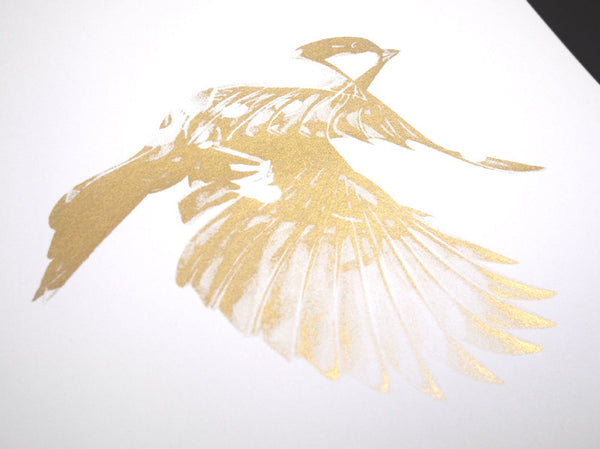 'Flight 02' Gold Screen Print | Artist Proof ( Screen Print ) by London artist Von — www.shopvon.com