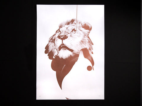 'Lion 01' Copper Edition | Artist Proof ( Screen Print ) by London artist Von — www.shopvon.com