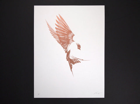 'Flight 01' Copper Screen Print | Artist Proof ( Screen Print ) by London artist Von — www.shopvon.com