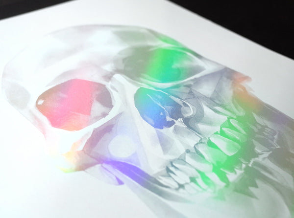 'Skull 03' Holographic Screen Print | Artist Proof   ( Screen print ) by London based artist Von  — ShopVon |  HelloVon - 3