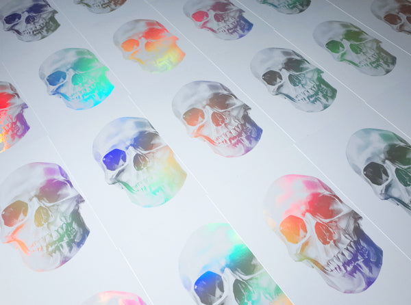 'Skull 03' Holographic Screen Print | Artist Proof ( Screen print ) by London artist Von — www.shopvon.com