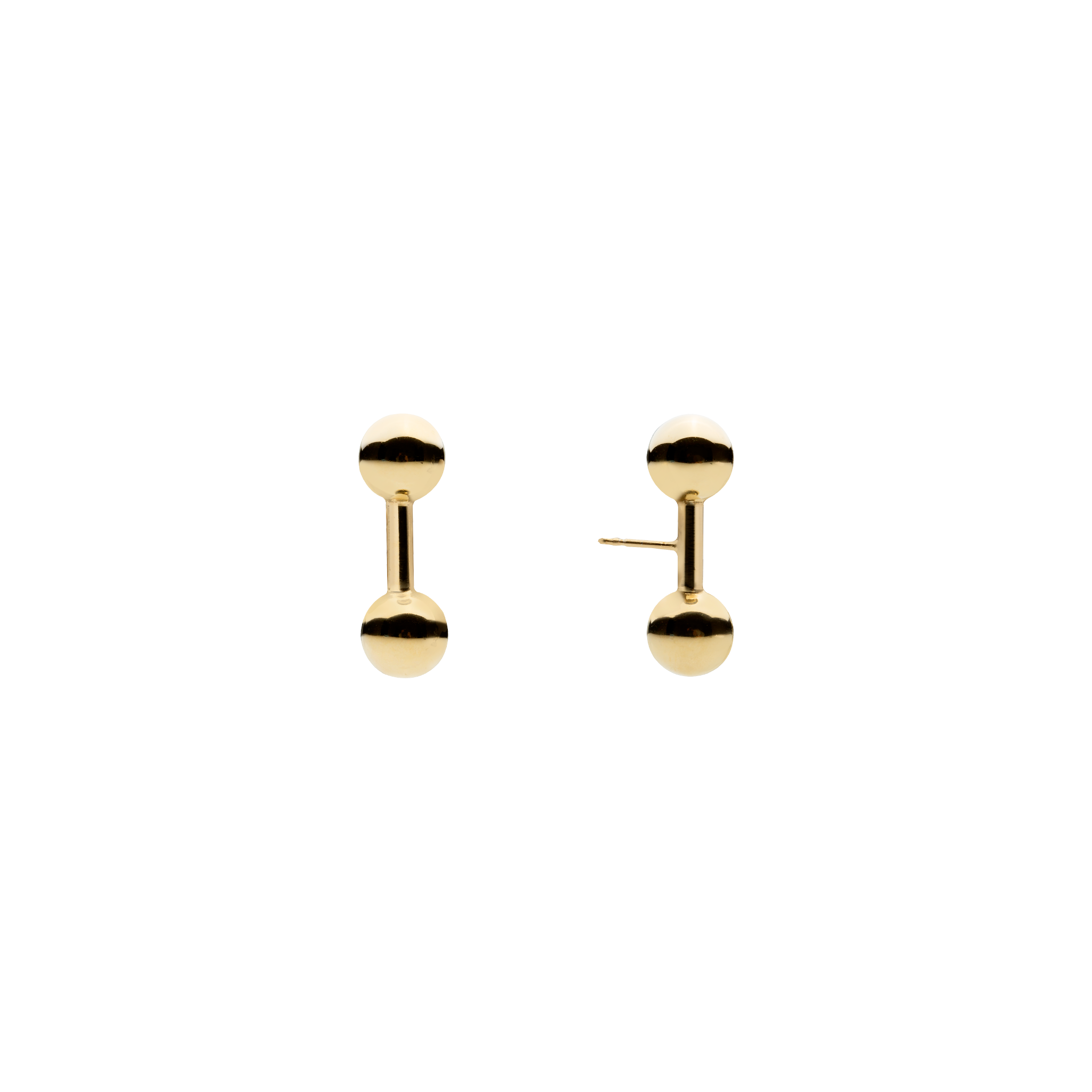 Double Ball Stud Gold Earrings