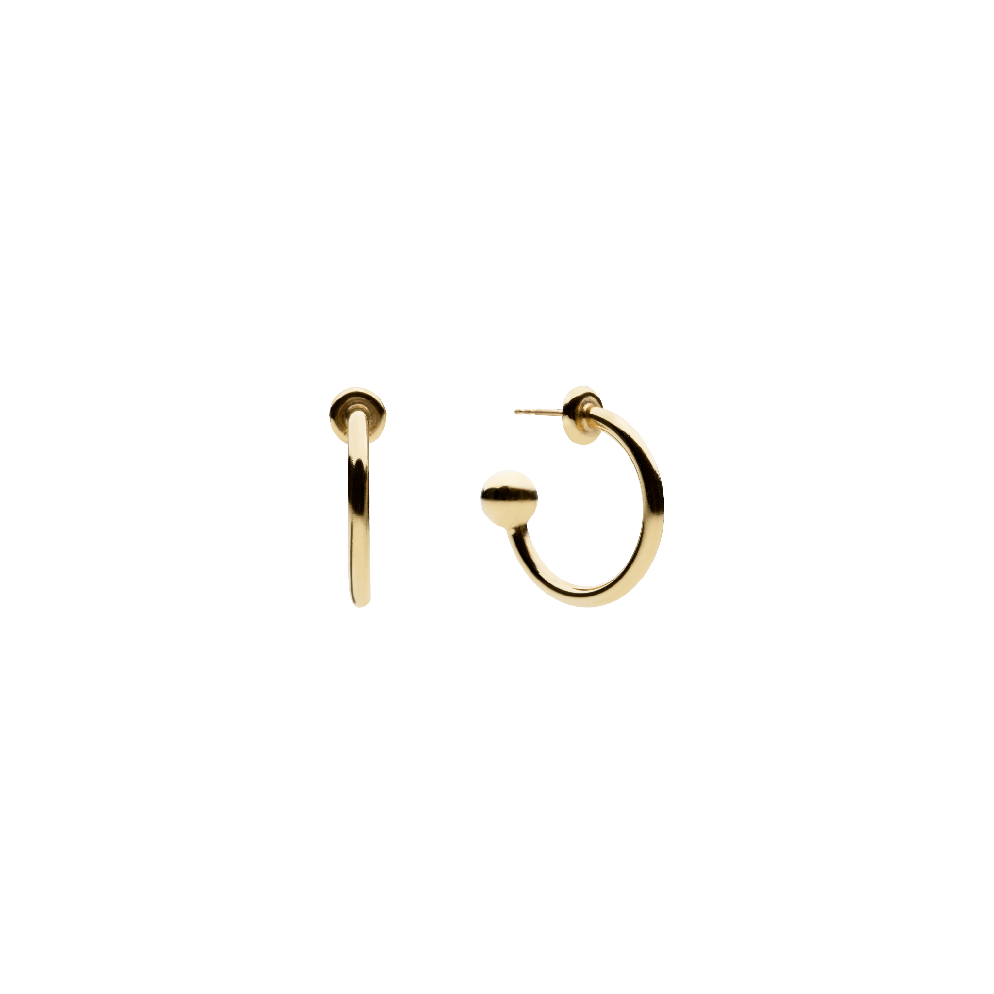Petite Ball Hoop Gold Earrings - 14K