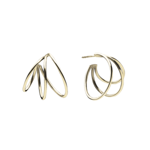 Triple Hoops Gold Earrings