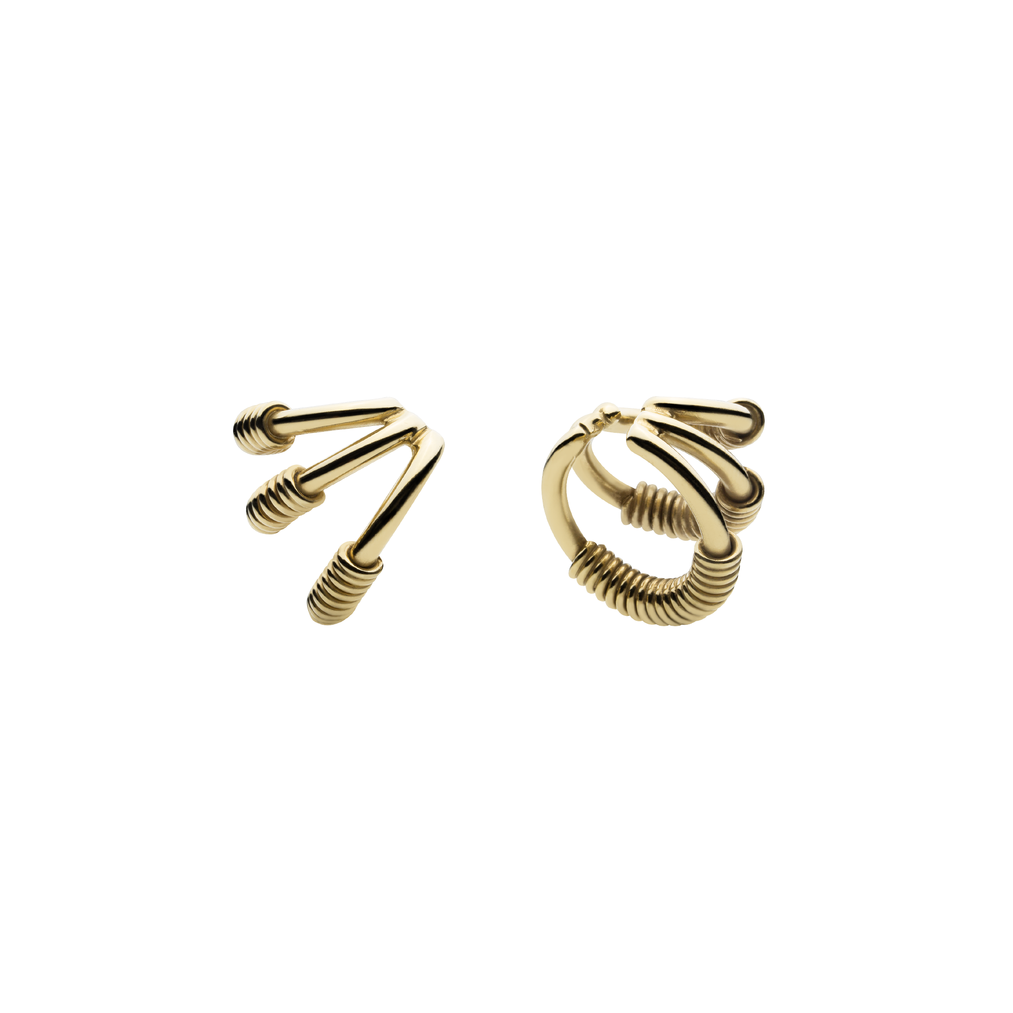 Wire Spine Gold Ear Cuffs