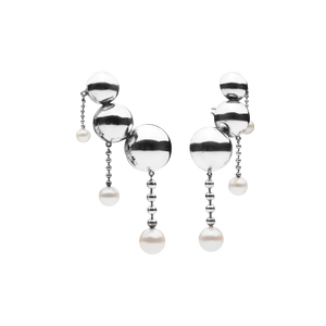 Opposition Pearl Silver Earrings