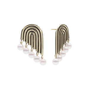 Supersonic Multiple Pearl Gold Earrings