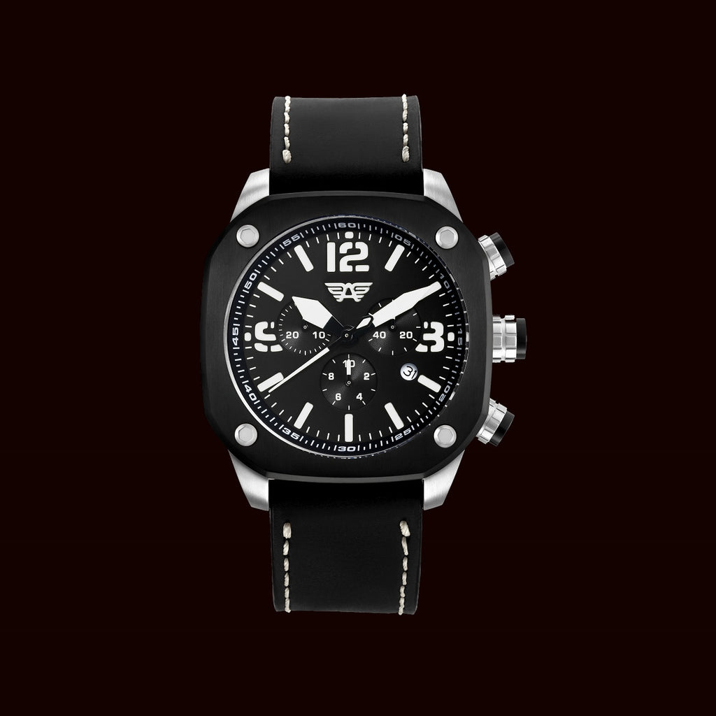 leather black in case luxury dial steel swiss watches stainless with strap automatic aviator