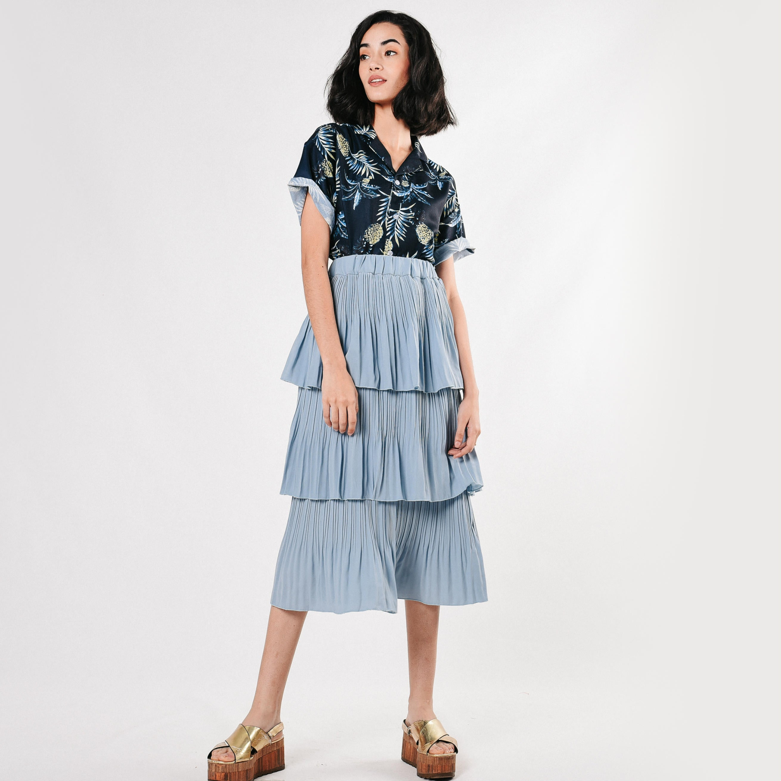 [BACKORDER] Layered Pleated Skirt - Sky Blue