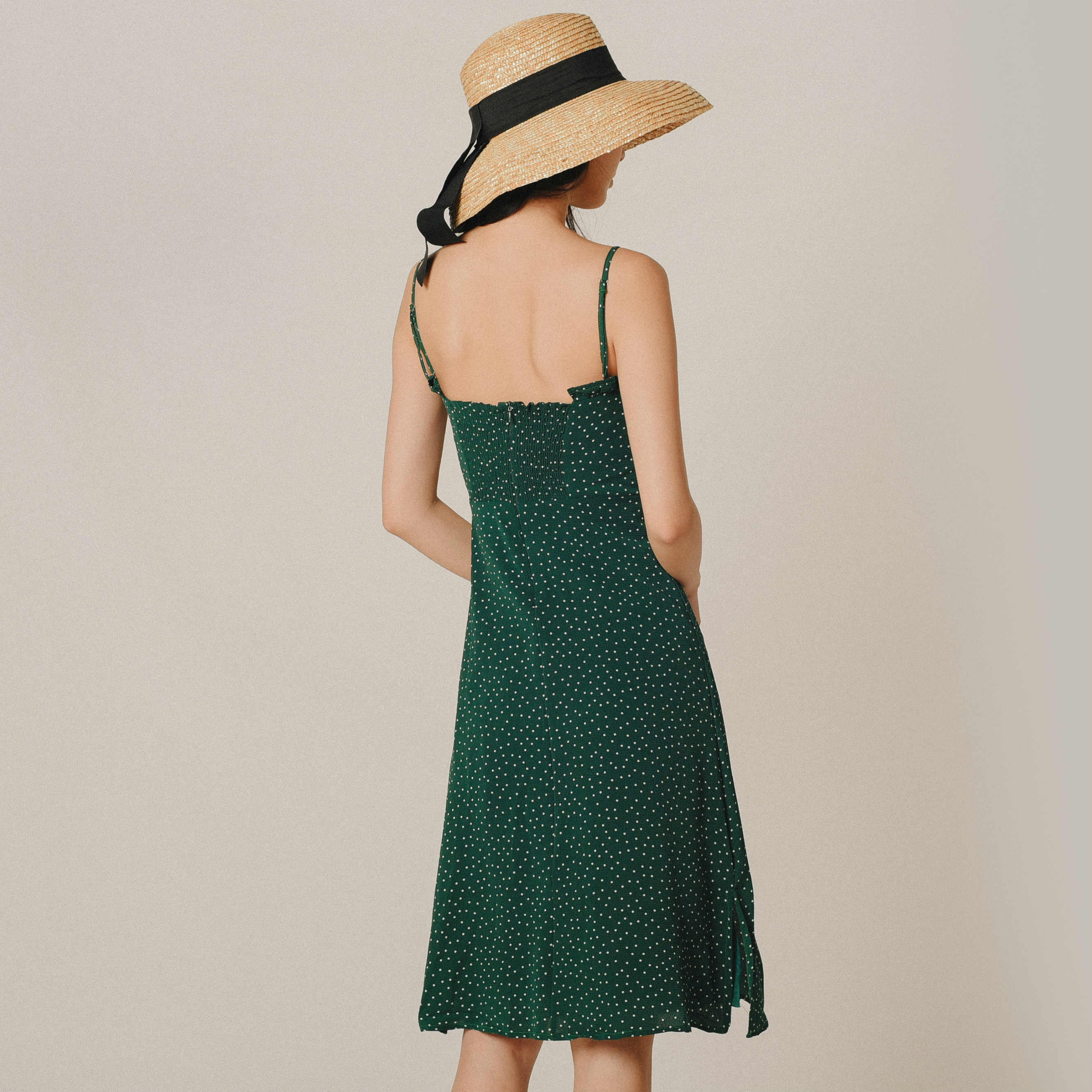 [BACKORDER] Viola Green Polka Dress