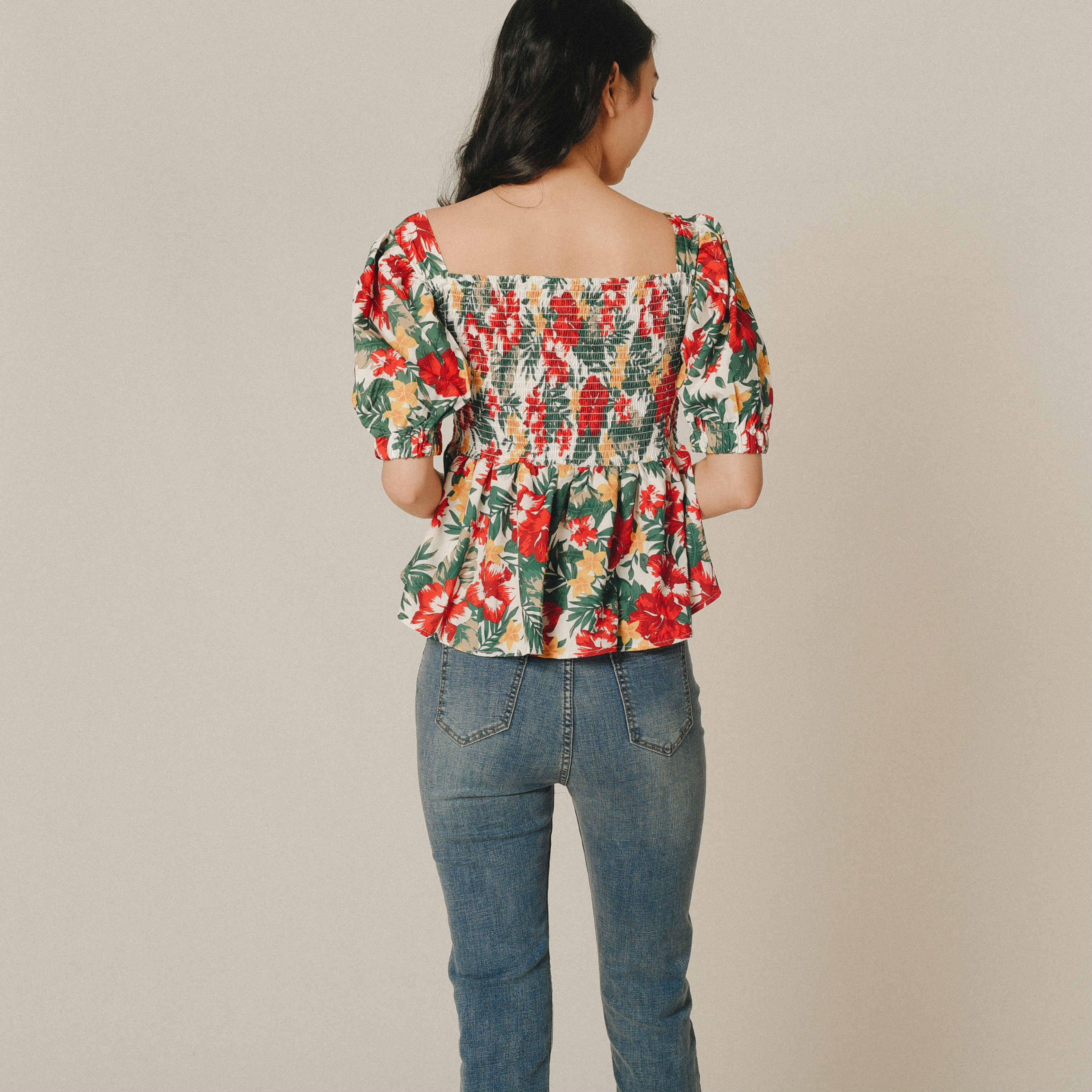 Illoi Printed Gathered Top