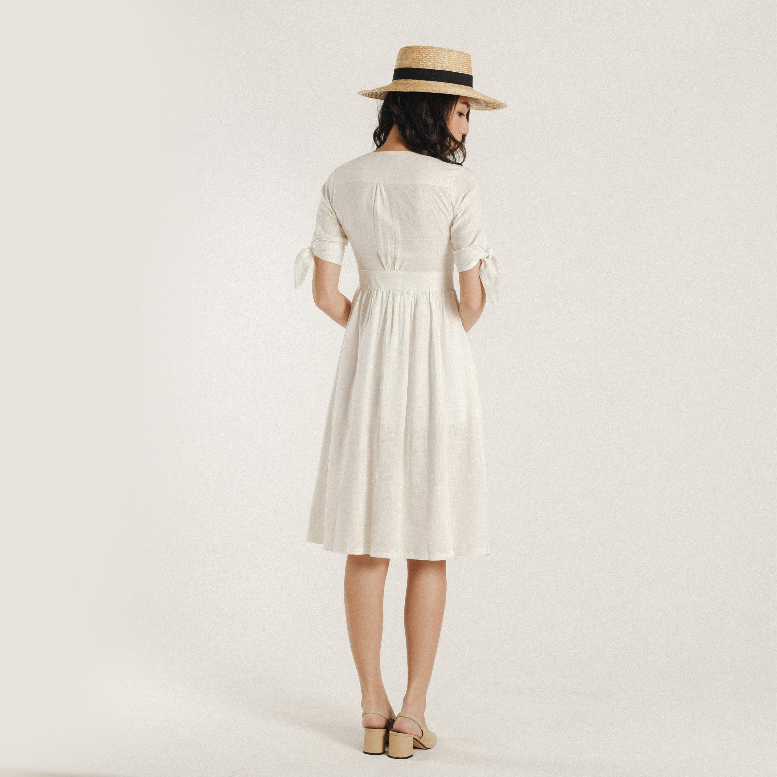 June Buttoned V-Neck Dress
