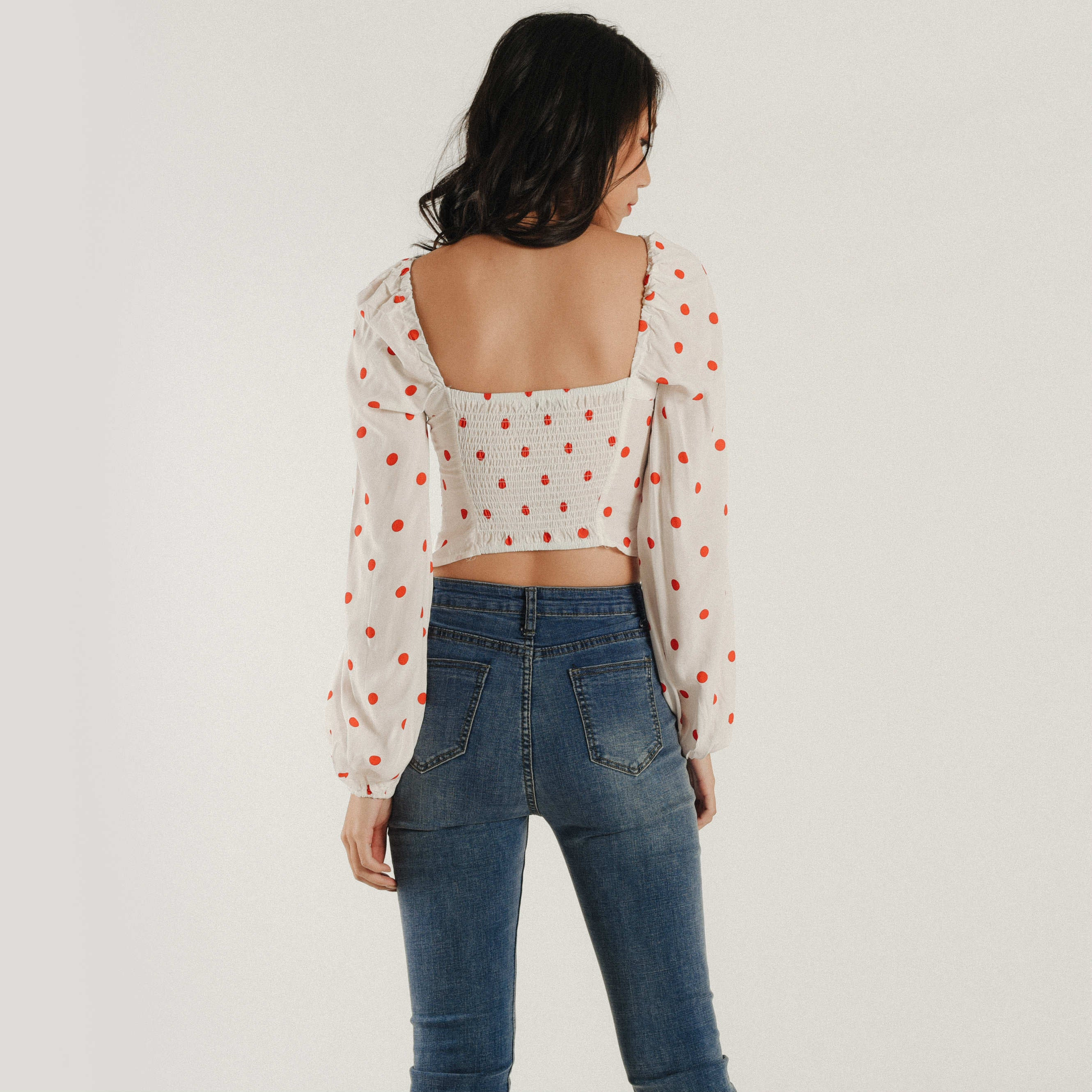 Polka Heart Top - White