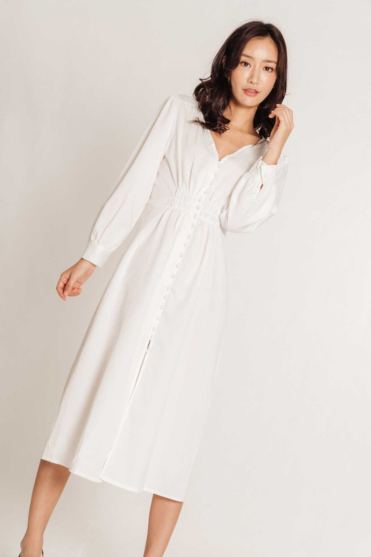 Lucia Buttoned White Dress