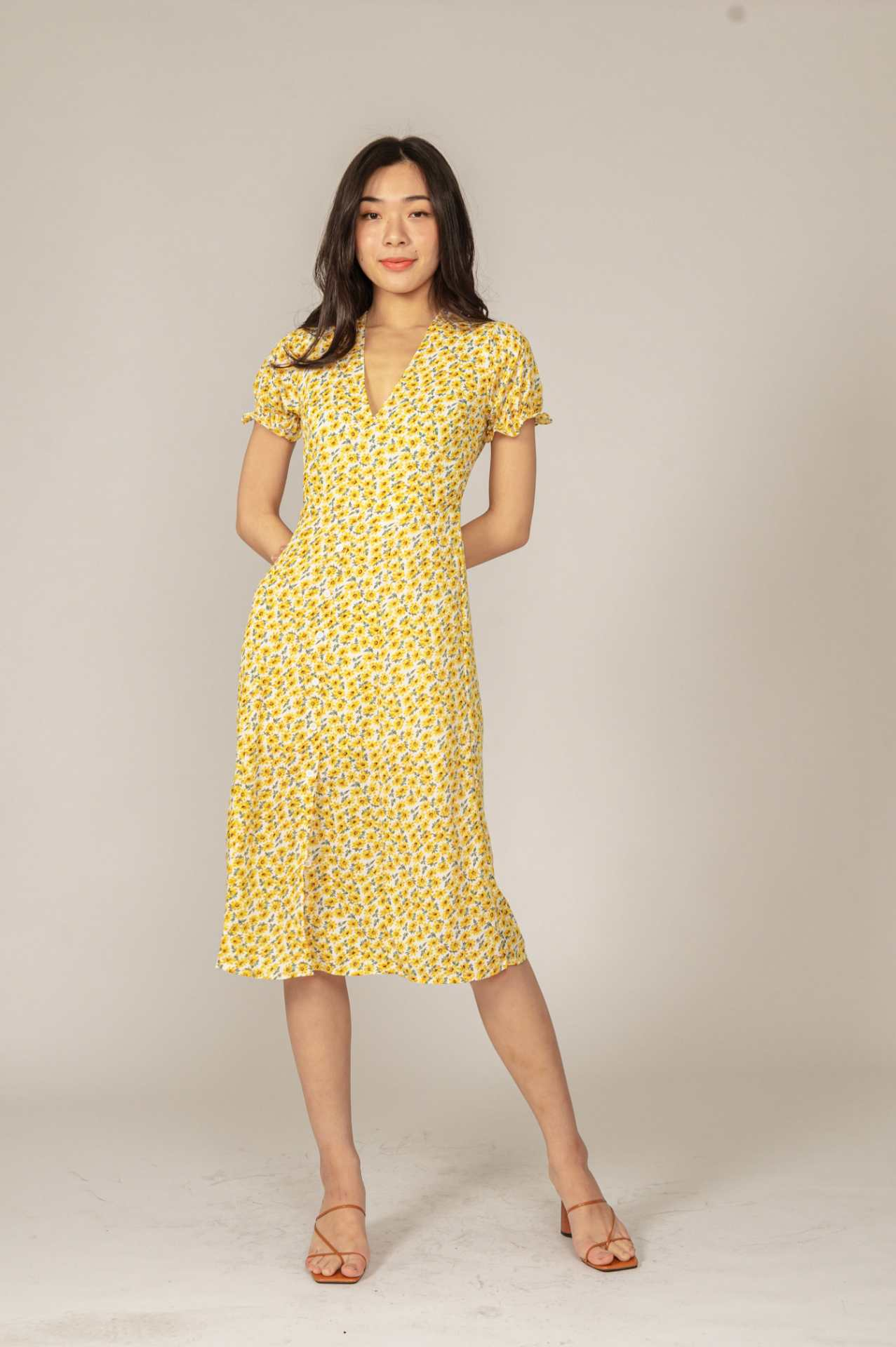 Trace Yellow Floral Dress