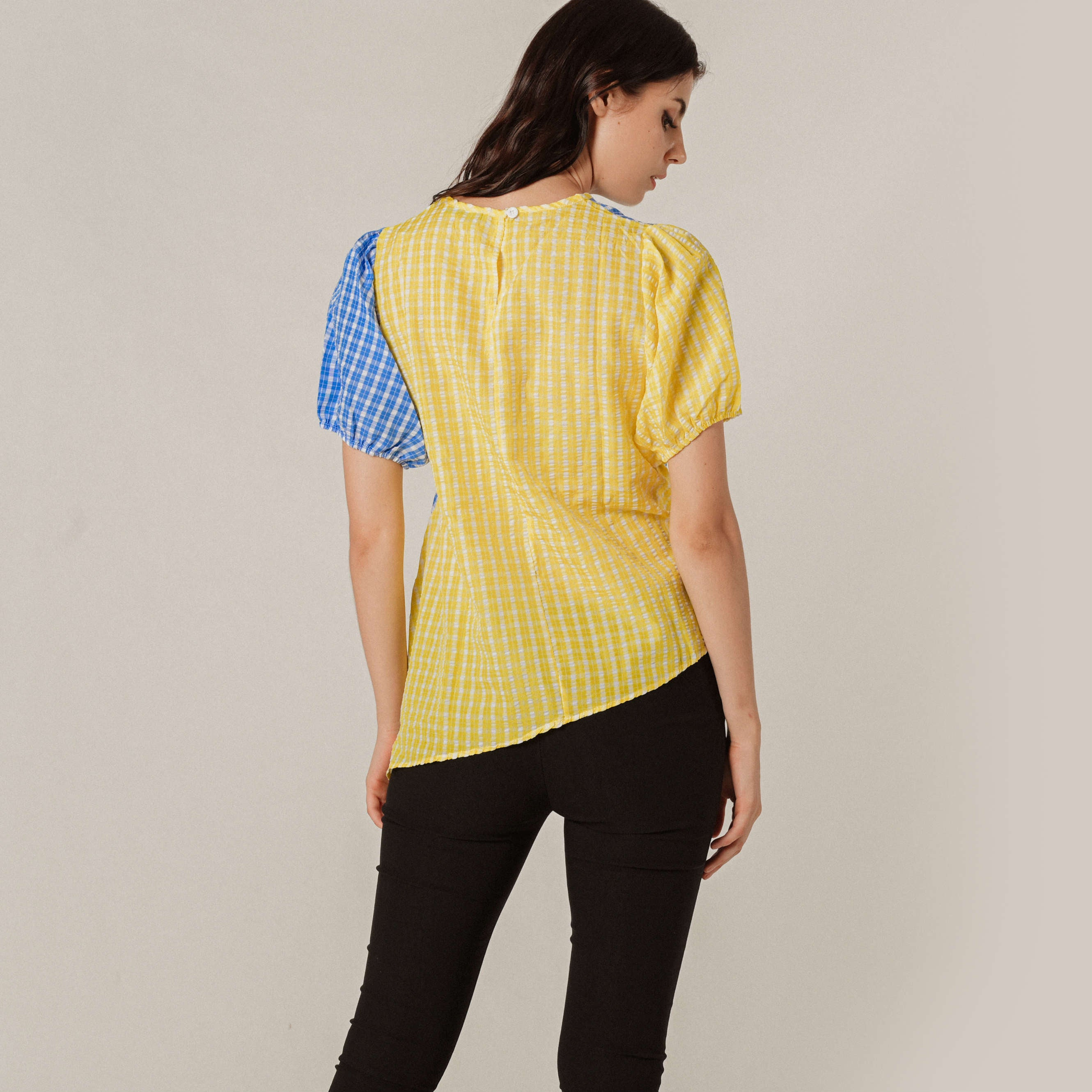 Mavery Checked Top - Yellow & Blue