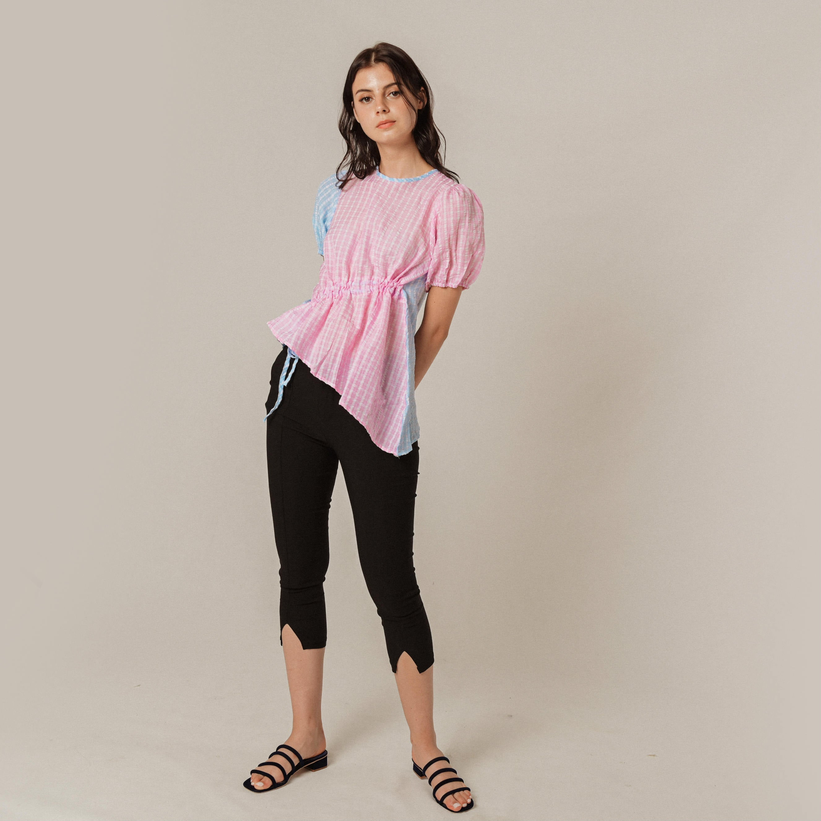 Mavery Checked Top - Pink & Blue