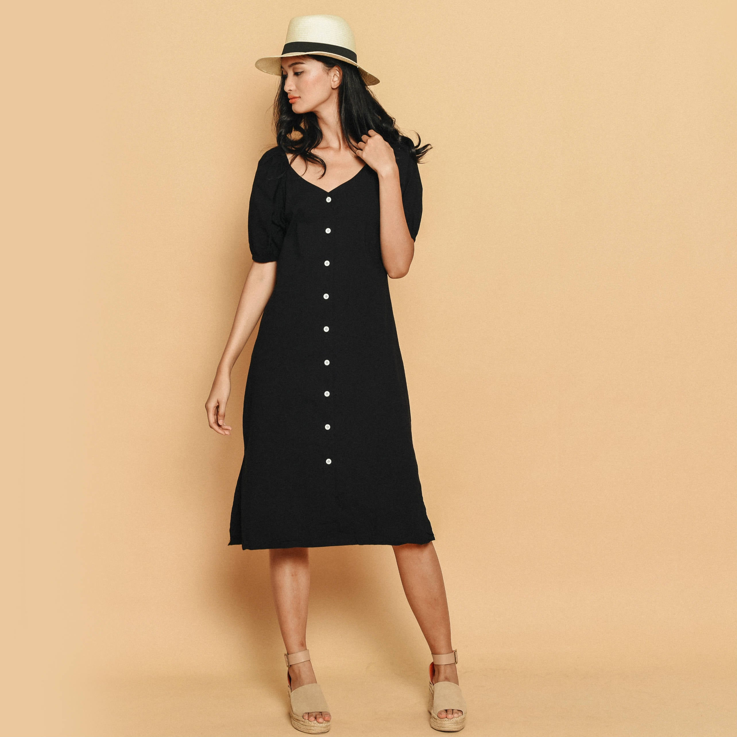 Susie Puff Sleeve Dress - Black